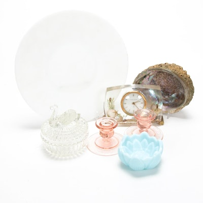 Fenton, Jeannette, and More Vanity Decor Including Abalone Half Shell, Vintage