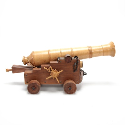 Scale Wooden Model of Naval Cannon on Carriage
