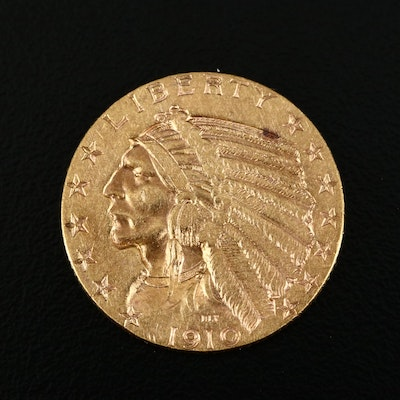 1910-S Indian Head $5 Half Eagle Gold Coin
