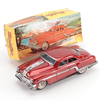 Minister Delux Tin Friction Car in Red Paint with Original Packaging, 1954