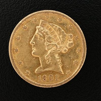 1901-S Liberty Head $5 Gold Half Eagle Coin