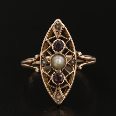 Circa 1910 10K Seed Pearl and Garnet Glass Doublet Navette Ring