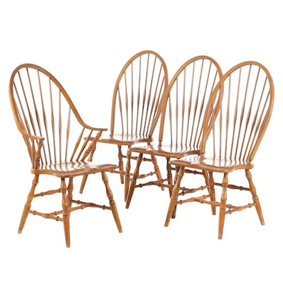 Maple Bow-Back Windsor Side Chairs, Late 20th Century