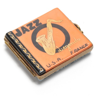 French Hand-Painted Porcelain Jazz Record Limoges Box
