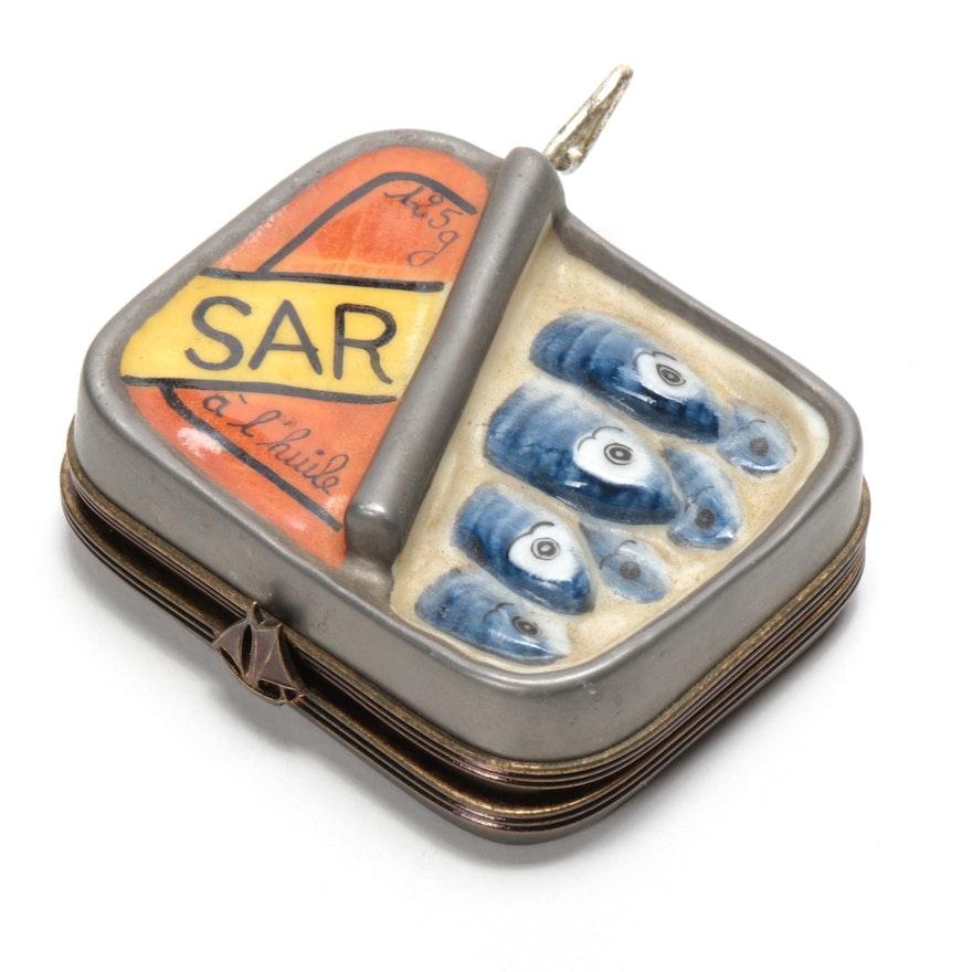Hand-Painted Porcelain Sardine Tin Limoges Box