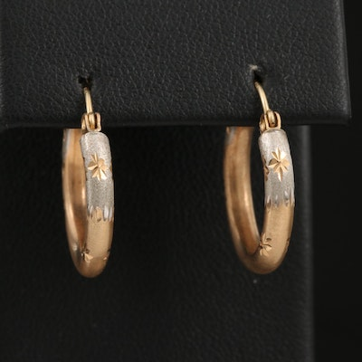Two Tone 14K Hollow Hoop Earrings with Diamond Cut Accents