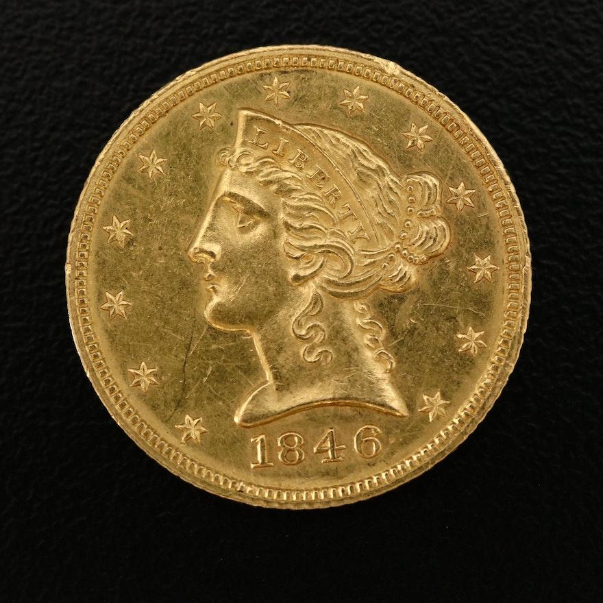 1846 Liberty Head $5 Half Eagle Gold Coin