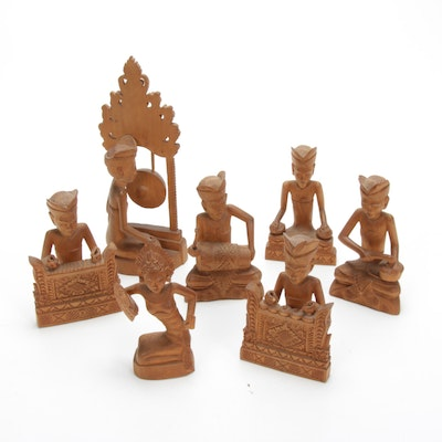 Balinese Styled Musician and Performer Carved Wood Figurines