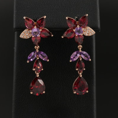 EFFY 14K Rose Gold Garnet, Amethyst and Diamond Drop Earrings