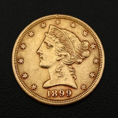 1899 Liberty Head $5 Gold Half Eagle Gold Coin
