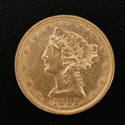 1882 Liberty Head $5 Gold Half Eagle Coin