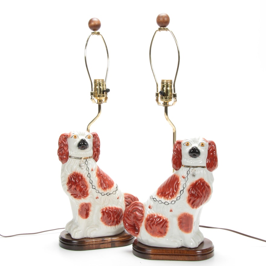 Pair of Staffordshire Style Porcelain Spaniel Table Lamps