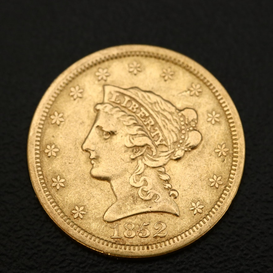 1852 Liberty Head $2.50 Gold Quarter Eagle Gold Coin