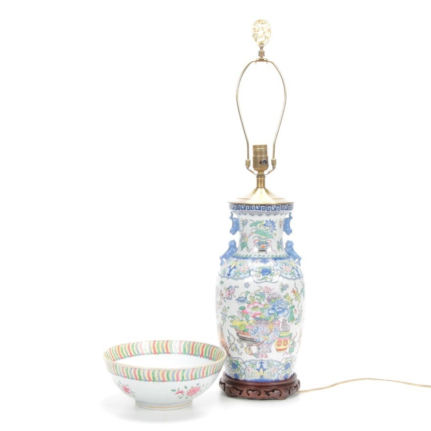 Chinese Porcelain Bowl and Table Lamp with Guardian Lion Motif