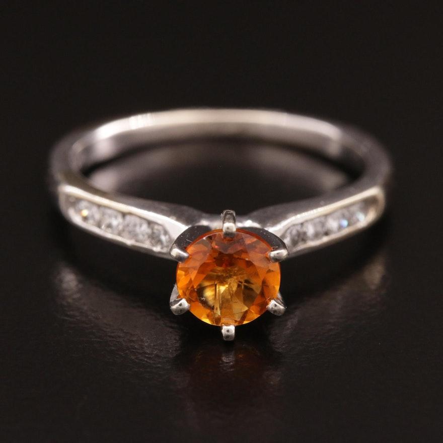 14K White Gold Diamond and Citrine Ring