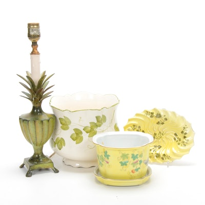 Hand-Painted Porcelain and Pottery with Table Lamp