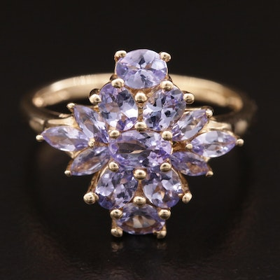 10K Gold Tanzanite Cluster Ring
