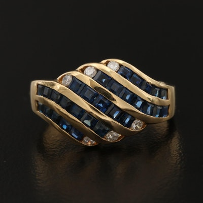 18K Gold Diamond and Sapphire Ring