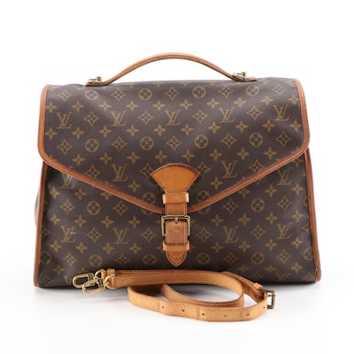 Refurbished Louis Vuitton Beverly Business Bag in Monogram Canvas and Leather