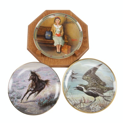 """Knowles """"A Young Girl's Dream"""" and Other Porcelain Collector Plates with Stand"""