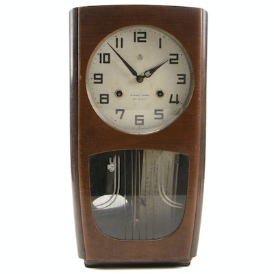 """Aichi Tokei Japanese Lacquered """"21 Day"""" Clock, Mid-20th Century"""
