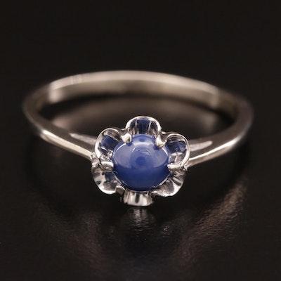 10K White Gold Star Sapphire Ring
