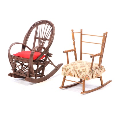 Two Child's Rocking Chairs, Including Bent-Twig Example, 20th Century