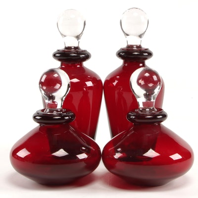 Red Blown Glass Perfume Bottles
