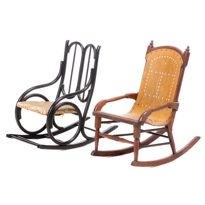 Two Bentwood Child's Rocking Armchairs, Including Gardner and Company