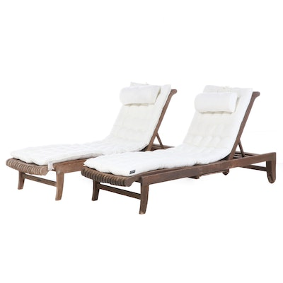 Avignon Collection by Smith & Hawken Teak Chaise Lounge Chairs