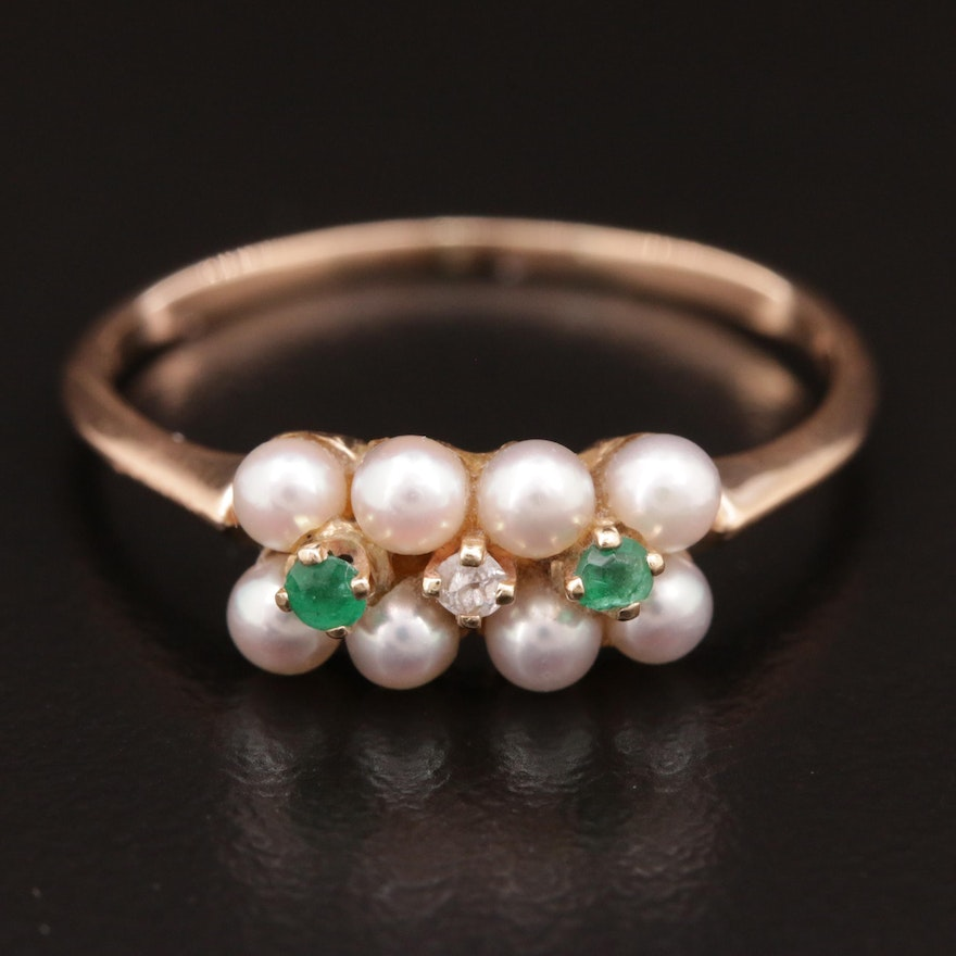 14K Gold, Pearl, Emerald and Diamond Ring