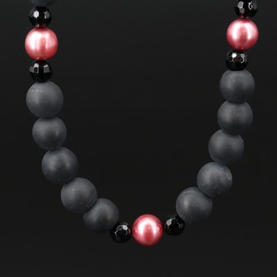 Black Onyx and Pearl Necklace with Sterling Silver Clasp