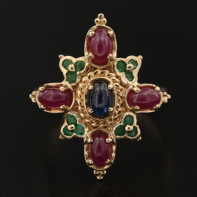 14K Sapphire, Ruby and Emerald Ring