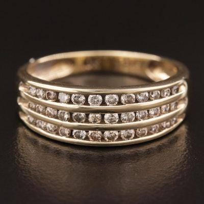 10K Gold Diamond Multi-Row Channel Ring