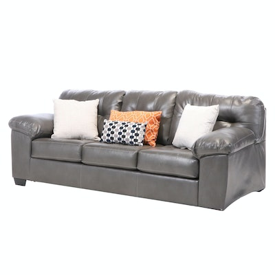 Ashley Furniture Queen Sofa Bed in Gray Vinyl