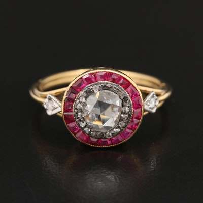 Vintage 18K Gold Diamond and Ruby Ring with Sterling and Platinum Accents