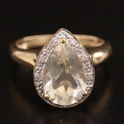 10K Gold Labradorite and Diamond Ring