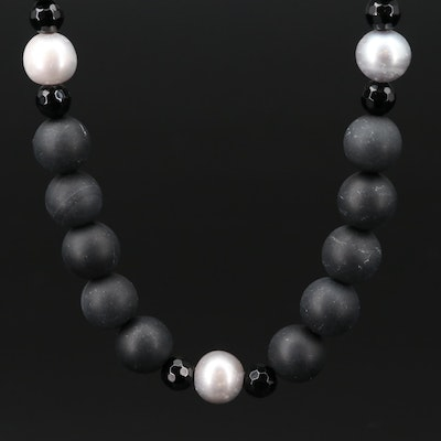Black Onyx and Pearl Necklace with 14K Gold Clasp