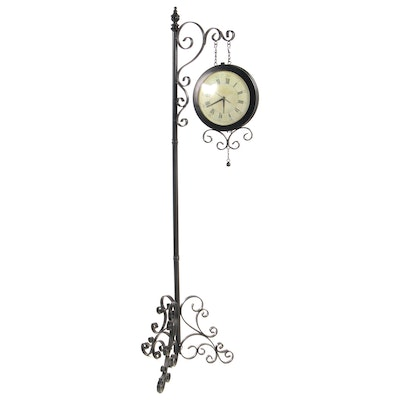Hanging Clock on Wrought Metal Stand