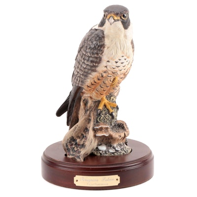 "Royal Doulton ""Peregrine Falcon"" Figurine with Wooden Stand, Late 20th Century"