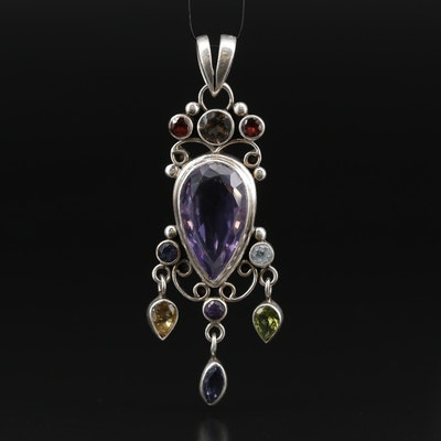 Sterling Amethyst Drop Pendant with Smoky Quartz and Iolite Accents