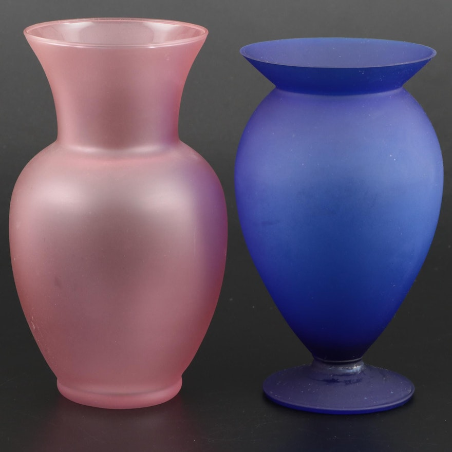 Glass Vases Including Silvestri, Late 20th Century