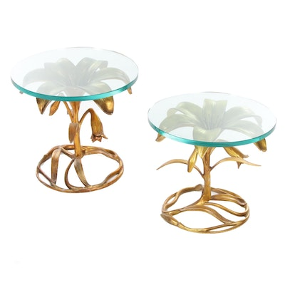 Pair of Arthur Court Gilt Metal Lily and Glass Top Side Tables, Mid-20th Century