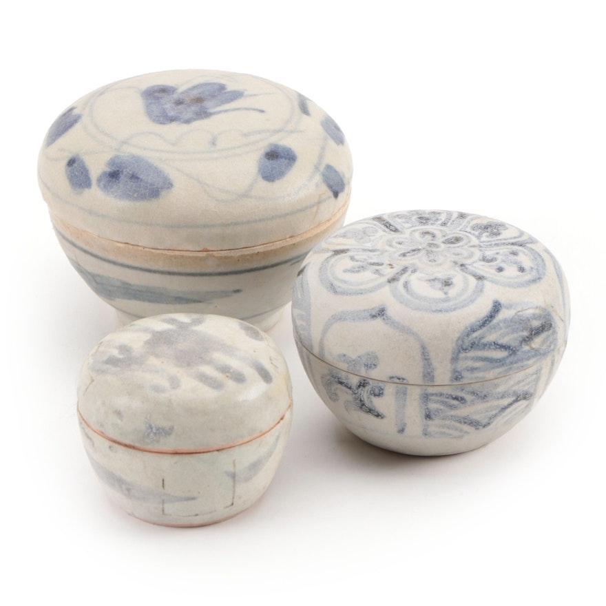 Thai Sawankhalok and Chinese Swatow Ware Blue and White Jarlets
