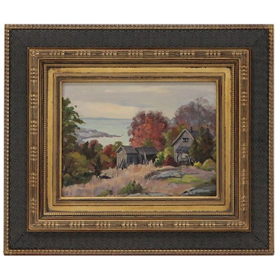 Jacob Greenleaf Impressionist Style Cottage Landscape Oil Painting,20th Century