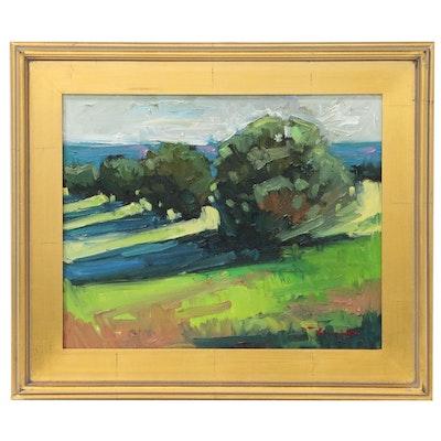 "Jose Trujillo Oil Painting ""Noon Light Shadows"", 2014"