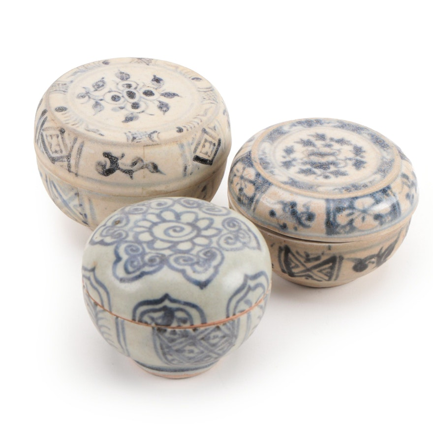 Chinese Swatow Ware Ceramic Jarlets, Late Ming Dynasty