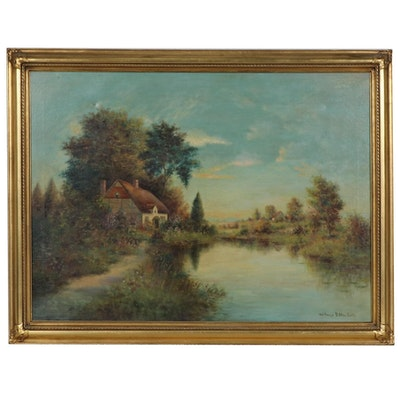 """Wallace D. MacBeth Oil Painting """"A Peaceful Home"""""""
