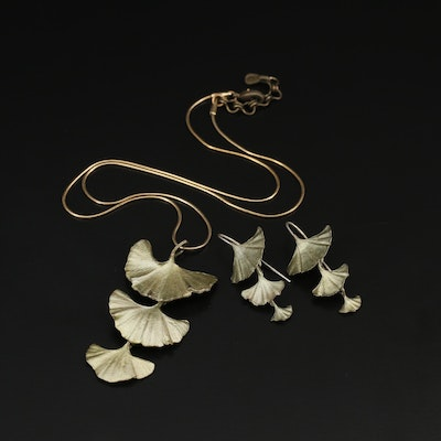 "Michael Michaud ""Ginkgo"" Tiered Necklace and Earrings"