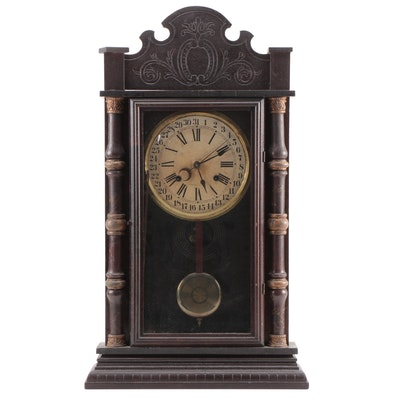 American Victorian Split Baluster Shelf Clock with Calendar Dial, Late 19th C.